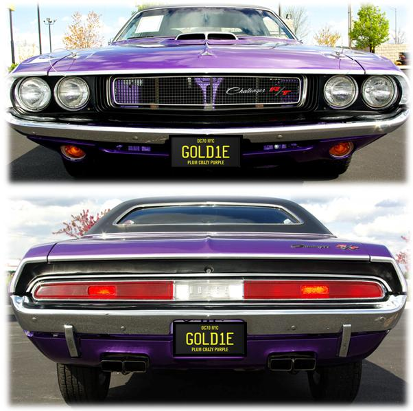 Plum with Goldie License Plates